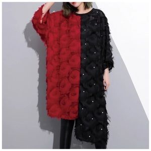 Tops - Red & Black Mixed Media Oversize Top